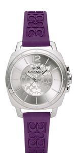Coach Womens Boyfriend Purple Logo-Embossed Watch
